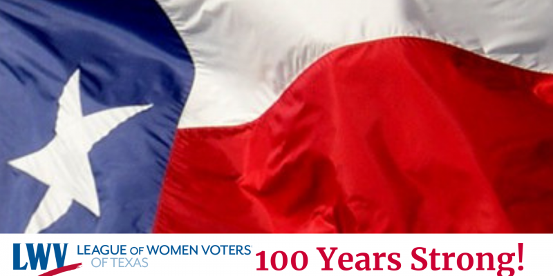 Flag with LWV Texas 100 Years Strong