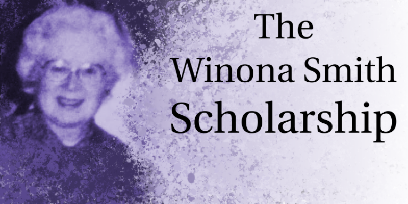 Purple Banner for the Winona Smith Scholarship Fund