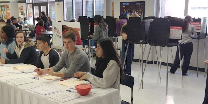 Students at West Chicago High School at Mock Election