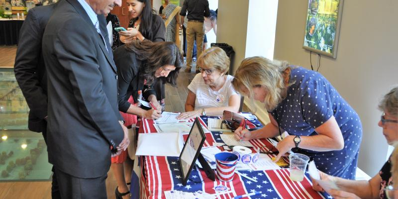 Registering voters at Naturalization Ceremony