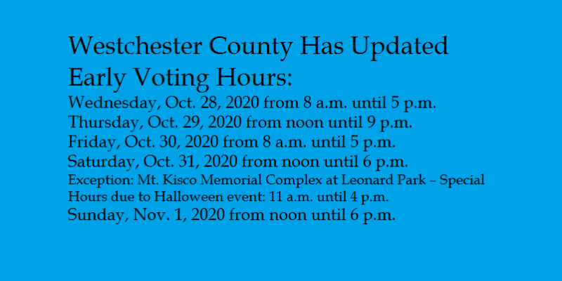 Updated Early Voting Hourse for Westchester County 2020