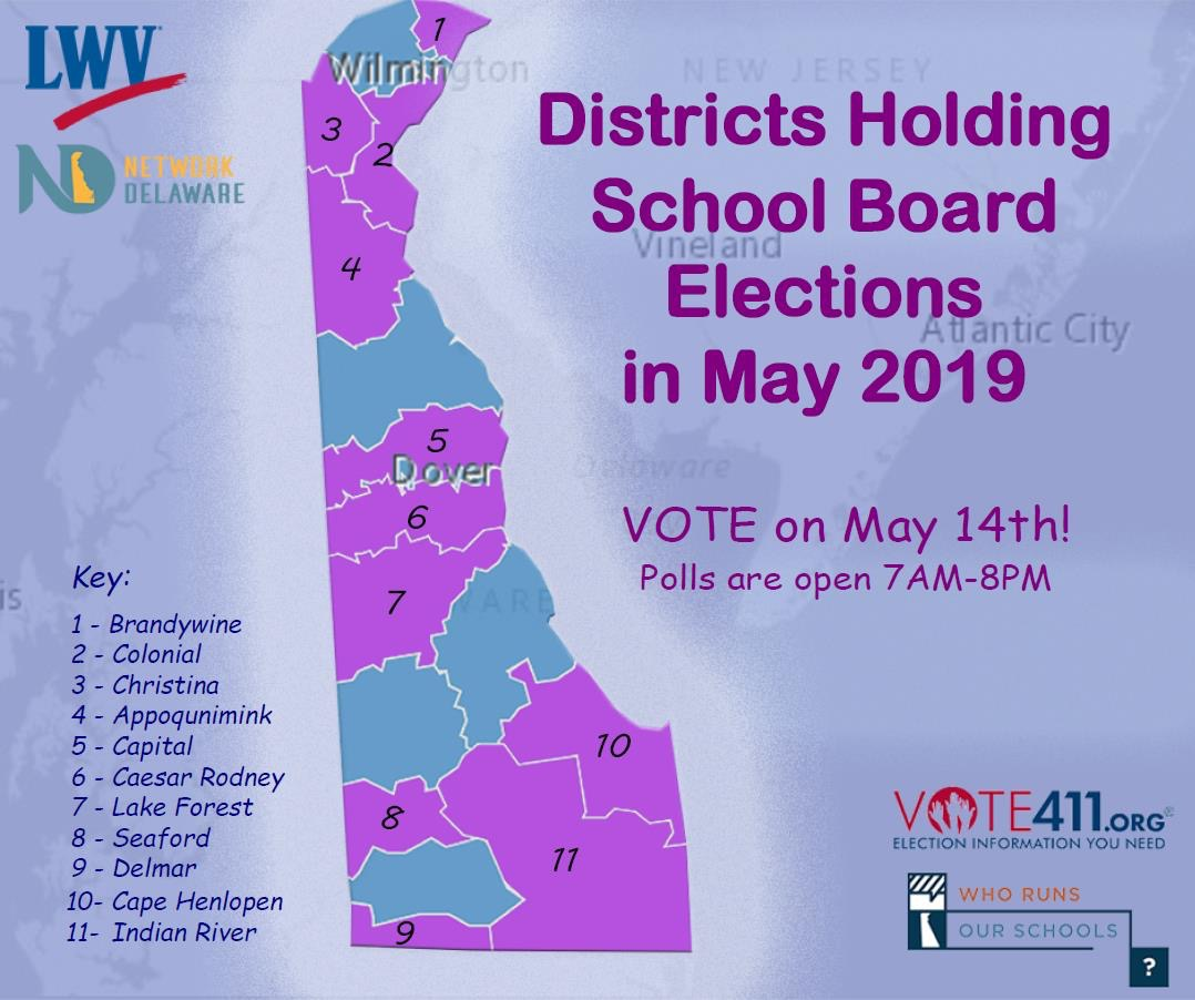 map of Delaware showing school districts holding elections