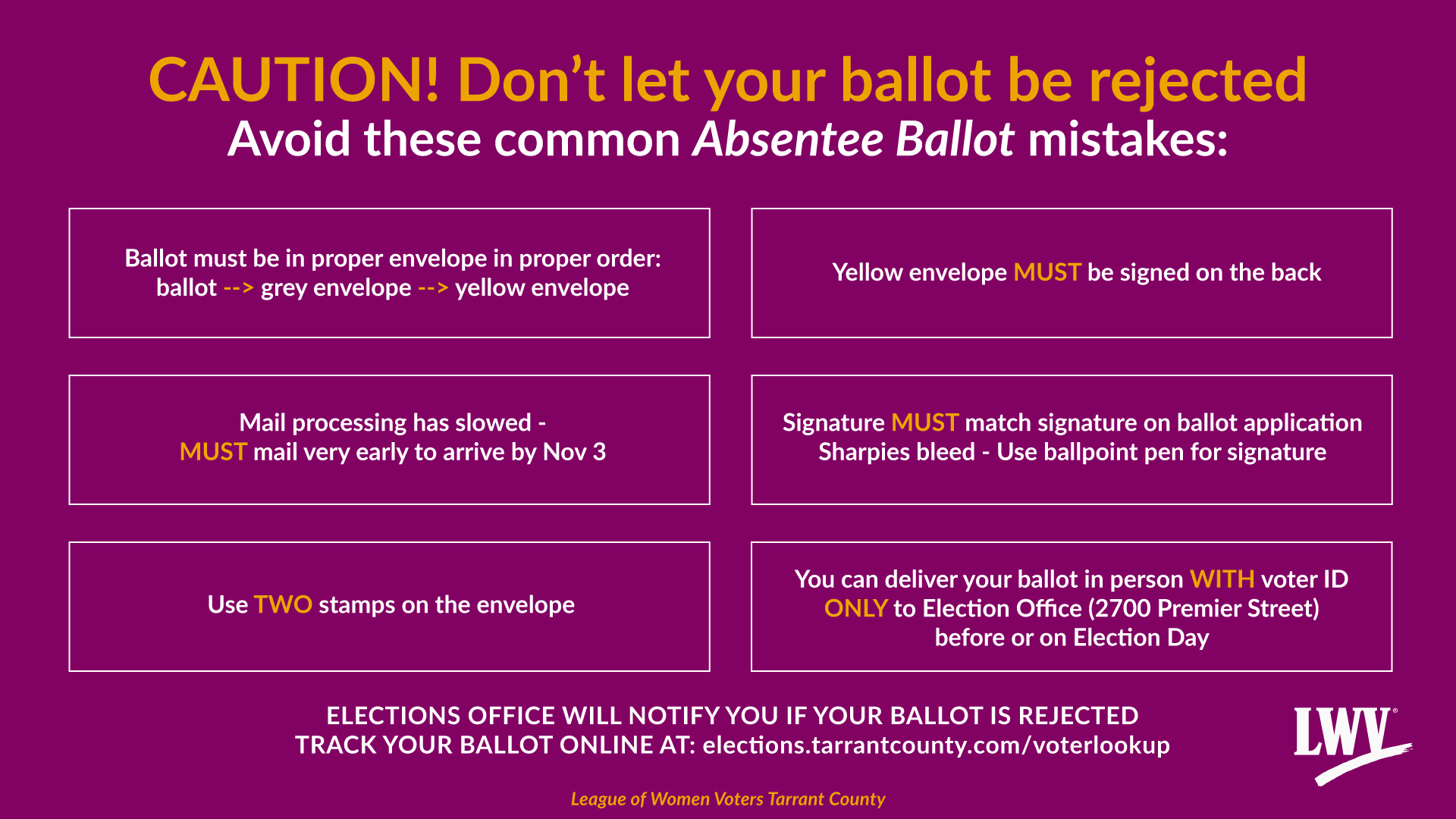 Caution! Don't let your absentee ballot be rejected