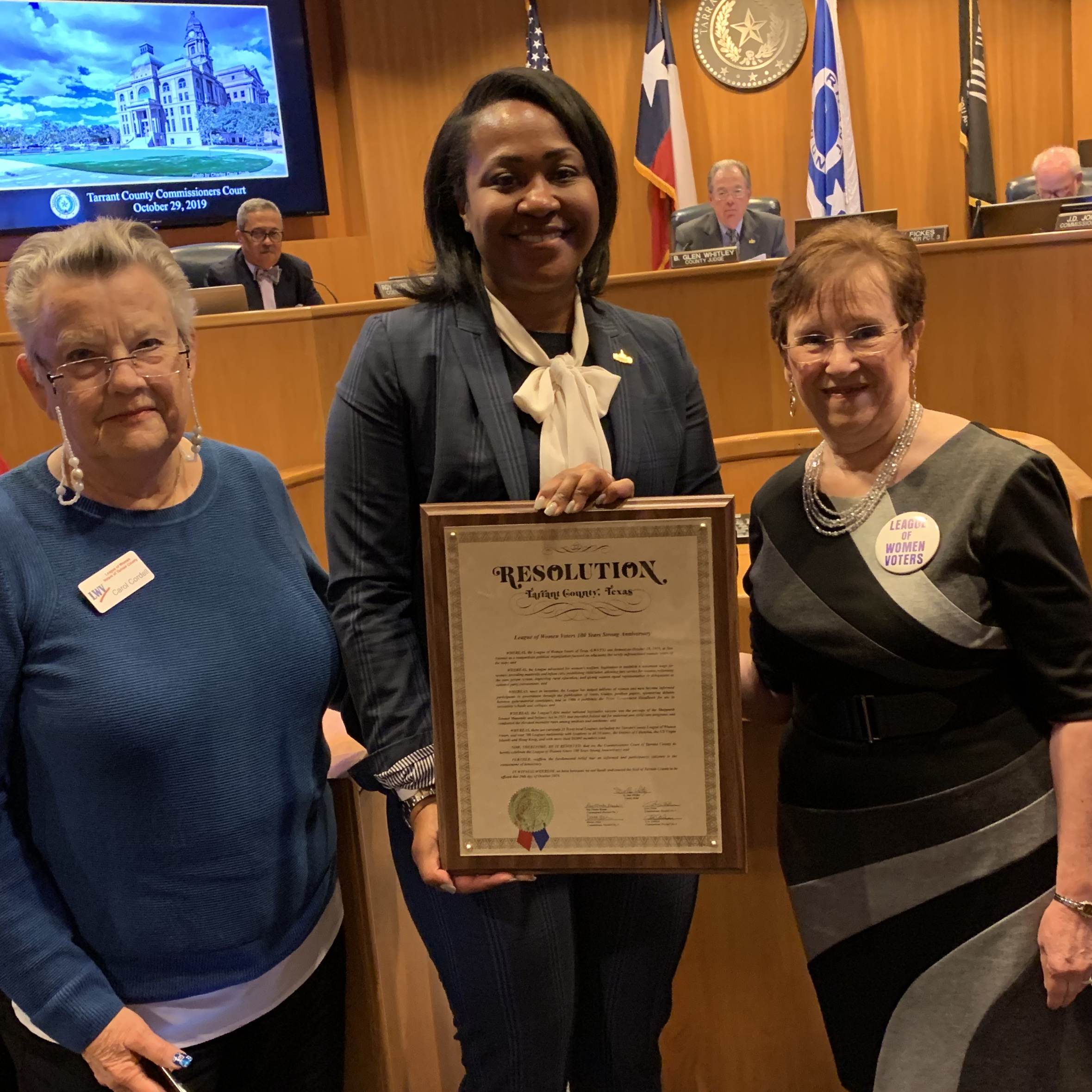 LWV Tarrant County honored by Commissioners Court Resolution