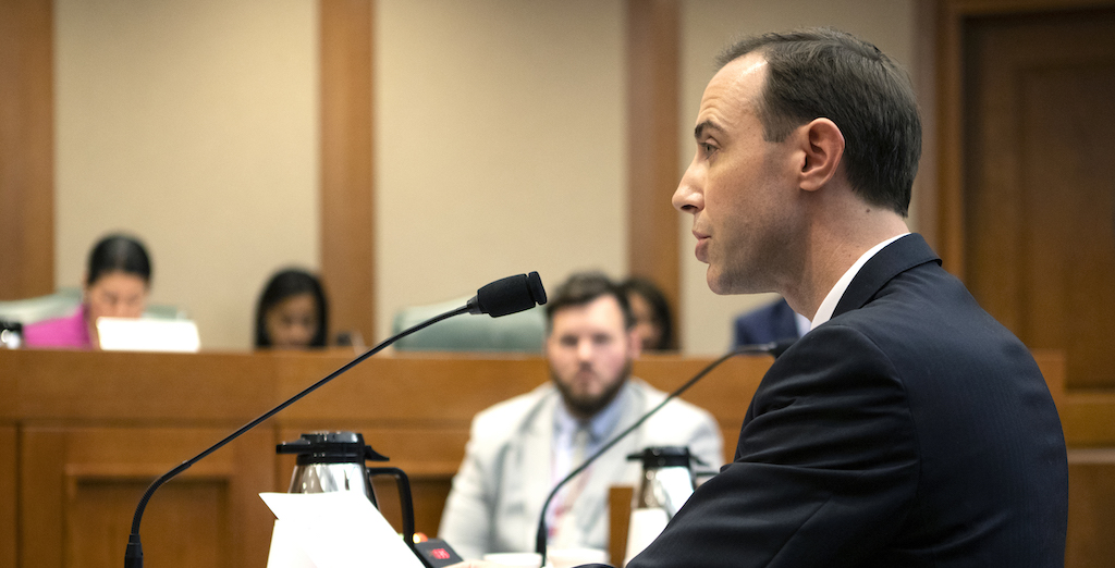 Texas Secretary of State David Whitley at a state Senate Committee on Nominations hearing on Feb. 7, 2019. Photo by Miguel Gutierrez Jr./The Texas Tribune