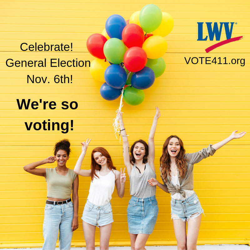 We're so voting! Four young women with balloons