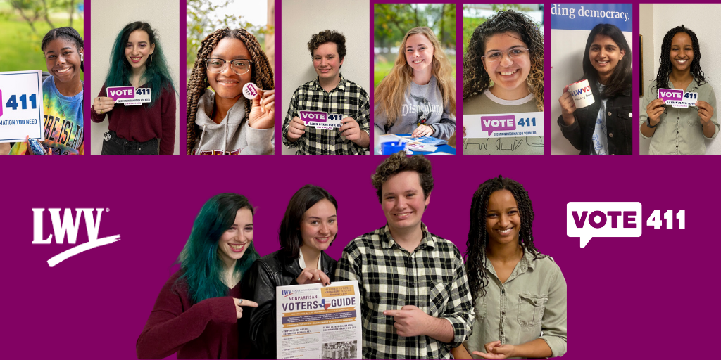 VOTE411 with young folks holding a Voters Guide