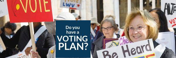 Do you have a voting plan photo of women holding signs