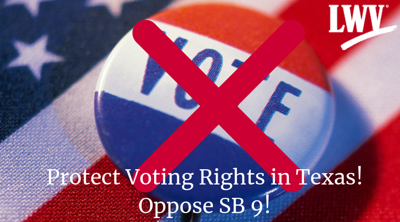 Voting pin with X.  Protect Voting Rights! Oppose SB 9!