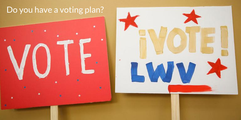 Signs with VOTE and make you plan to vote