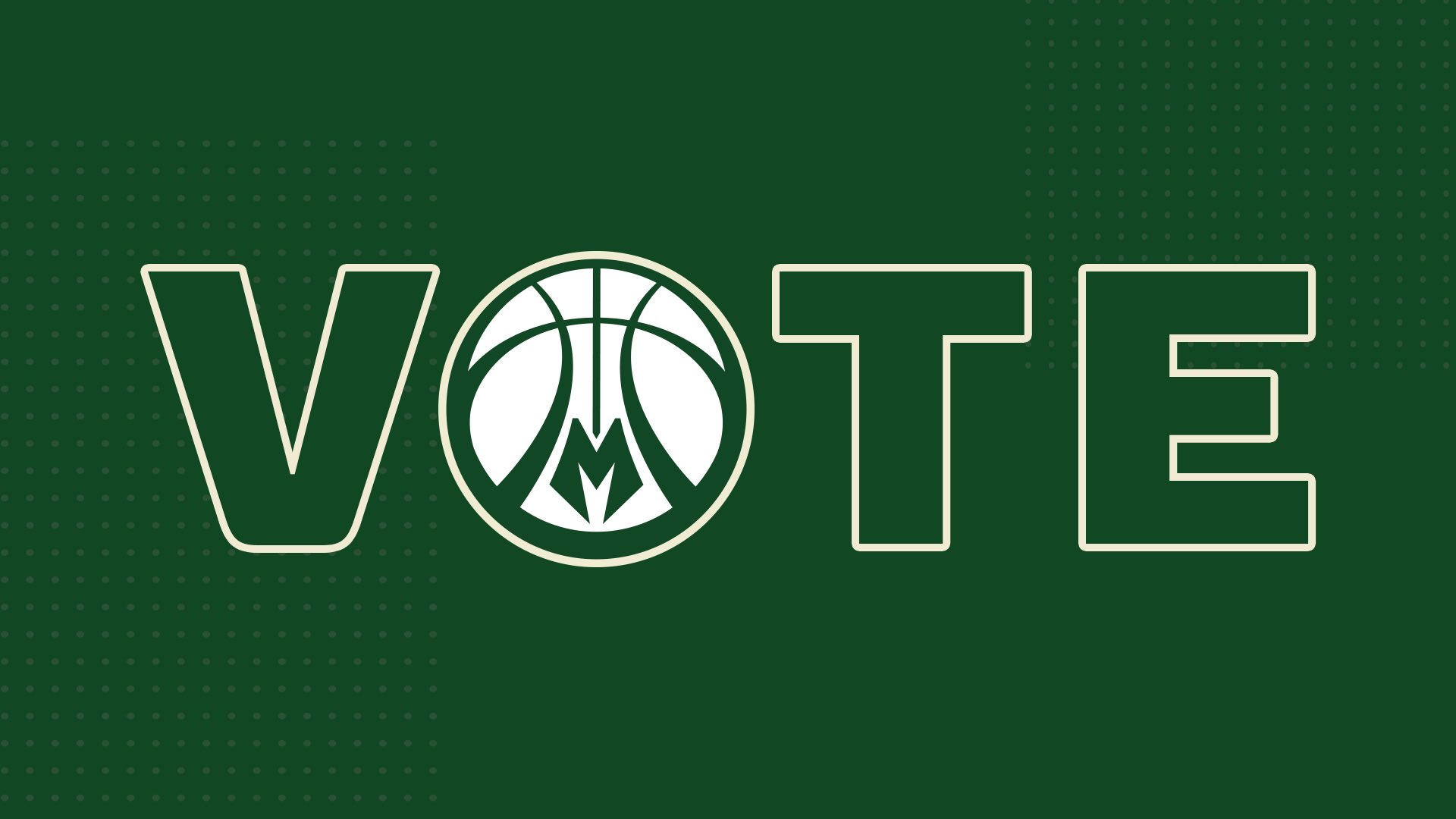 "Green graphic with the word ""VOTE"" in the middle. A basketball replaces the letter ""O""."
