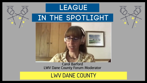 """Graphic with text, """"League in the Spotlight"""" with a photo of a member leading a virtual program"""