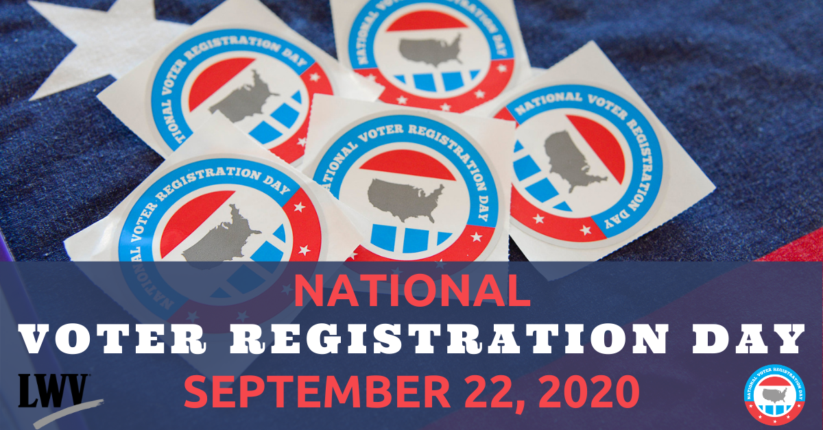 """Graphic of National voter registration day, with text: """"National Voter Registration Day, September 22, 2020"""""""