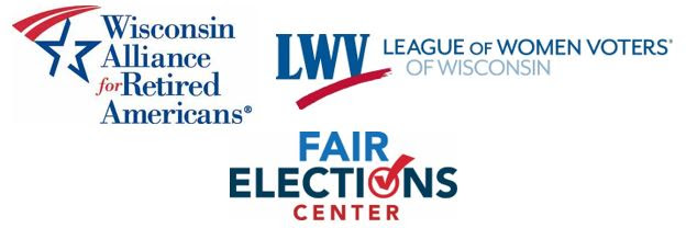 League of Women Voters of Wisconsin, Wisconsin Alliance for Retired Americans, and Fair Elections Center Logos