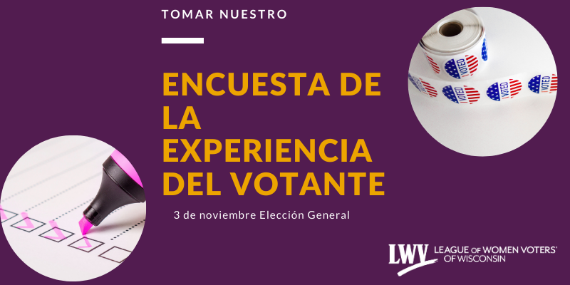 "Gold text that reads ""Tomar Nuestro Encuesta de la Experiencia del votante, 3 de noviembre elecciones general"" on top of a dark purple background. There is a picture of voting stickers and a hand of someone taking a survey"