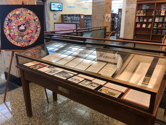 Brookline Library Display of LWV Brookline History Material